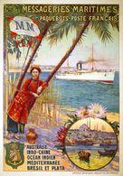 France Navigation Postcard Messageries Maritimes Australie Indo-China Brésil Et Plata 1910 - Reproduction - Advertising
