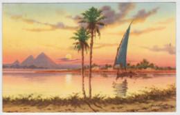 C.P.  PICCOLA   U.A.R.  EGYPT   PYRAMIDS  AND  NILE  AT  SUNSET    2 SCAN    (VIAGGIATA) - United Arab Emirates