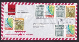 Peru: Airmail Cover To Netherlands, 1985, 8 Stamps, Monkey, Animal, Map, Flag, Architecture (traces Of Use) - Pérou