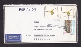 Peru: Airmail Cover To Germany, 3 Stamps, Orchid Flower, Battle, Military History, German Air Label (traces Of Use) - Peru