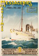 France Navigation Postcard Messageries Maritimes Poste Francaise Australie Océan Indien Brésil & Plata - Reproduction - Advertising