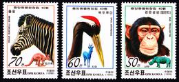 1999 North Korea Stamps Animal Chimpanzee Zebra 3v - Korea, North