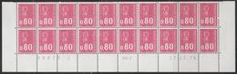 """1816 0.80f. BEQUET """"ROSE GROSEILLE"""" - BAS De FEUILLE De 20 RGR1 - COIN DATE 17.11.75 - 1971-76 Marianne Van Béquet"""