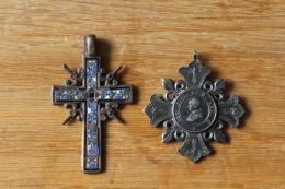 Lot De  2 Medailles  Vatican Et Croix Avec Email XIX° - Autres