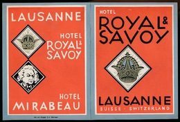 FOLDER - HOTEL ROYALE & SAVOY - LAUSANNE  SUISSE - VOIR SCANS 14.5 X 10.5 CM - Publicités