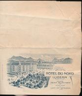 NOTE - HOTEL DU NORD LUZERN AM BAHNHOF 1912  - VOIR SCANS - Suisse