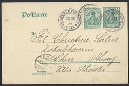 22de.Postkarte. Die Post Ging Durch 1903 Markneukirchen (Deutsches Reich) Chur (Schweiz) - Allemagne