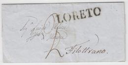 Italy Italia Stato Pontifico Papal States 1860 LORETO To Filottrano (q200) - ...-1850 Voorfilatelie