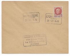 1944 - OBLITERATION TEMPORAIRE (SONDERSTEMPEL) - LIBERATION De LYON - Poststempel (Briefe)