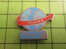 1018A Pin's Pins / Rare Et De Belle Qualité / THEME FRANCE TELECOM : GLOBE TERRESTRE VIAFAX - France Telecom