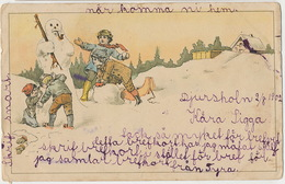 Bonhomme De Neige Suede 1902  Timbrée De Djursholn Vers Yslad Snowman - Cartes Postales