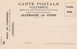 Carte Franchise Prisonniers De Guerre Kriegsgefangenensendung Fort De Sennecey Dijon - Marcophilie (Lettres)