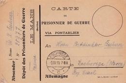 Carte Franchise Prisonniers De Guerre Kriegsgefangenensendung Dépot Le Mans - Marcophilie (Lettres)