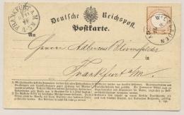 Deutsches Reich - 1872 - 1/2 Groschen Mi 3 On Postcard From Wiesbaden To Frankfurt - Duitsland