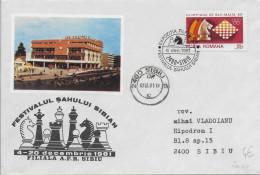 ROUMANIE - 1981 - OBLITERATION TEMPORAIRE (SONDERSTEMPEL) : ECHECS - ENVELOPPE De SIBIU - Marcofilia