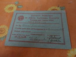 TESSERA GOIVENTU' FEMMINILE DI AZIONE CATTOLICA ITALIANA 1934 - Documentos Históricos