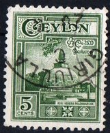 CEYLON, COMMEMORATIVO, MONUMENTI, 1950, FRANCOBOLLO USATO YT 281    Scott 308  (0,60) - Ceylan (...-1947)