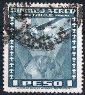 CILE, CHILE, POSTA AEREA, AIRMAIL, 1945, FRANCOBOLLO USATO YT PA95    Scott C99 - Cile