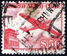 CILE, CHILE, POSTA AEREA, AIRMAIL, 1956, FRANCOBOLLO USATO YT PA167    Scott C177 - Cile