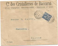 MOUCHON 25C N°118 SEUL LETTRE ENTETE CIE DES CHRISTALLERIES DE BACCARAT OBL PARIS 1901 POUR SUISSE - Postmark Collection (Covers)