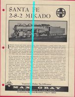 Catalogue MAX GRAY Supplement Sheet Apr 1964 SANTA FE 2-8-2 MIKADO O Scale - Customer Service Bulletin - Books And Magazines