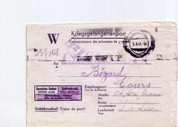 Cartes Lettre De Prisonniers Stammlager IV  Hohnstein Pour Tours 1944 - Marcophilie (Lettres)