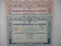 LOT De 2 Banque REGIONALE Du CENTRE  1920 1942 ROANNE LOIRE - Banque & Assurance