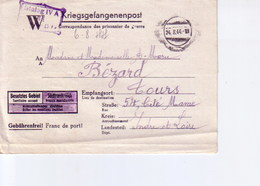 Cartelettre  De Prisonnier Stalag IV A Pour Tours 1944 - Marcophilie (Lettres)