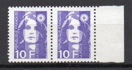 - FRANCE Variétés N° 2627c Neufs ** - 10 F. Violet Marianne De Briat - 1 Barre PHO Tenant à 2 Barres PHO - Cote 95 EUR - - Variétés Et Curiosités