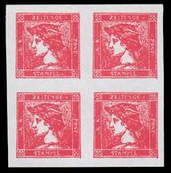 Francobolli Per Giornali / Testa Di Mercurio (6 K.) Vermiglio - 1851 / QUARTINA - Neufs
