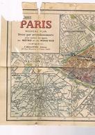 NOUVEAU PLAN DE PARIS Divisé Par Arrondissements Avec Toutes Les Lignes Du Metro Et Du Nord Sud - Maps