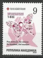 MK 2018-ZZ01 RED CROSS AGAINST CANCRO, MACEDONIA, 1 X 1v, MNH - Macédoine