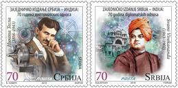Serbia 2018, Serbia – India Joint Issue, 70 Years Of Diplomatic Relations, Nikola Tesla, Swami Vivekananda, MNH - Induismo