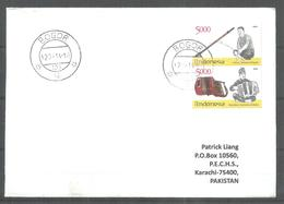 USED AIR MAIL COVER INDONESIA TO PAKISTAN MUSICAL INSTRUMENT - Indonesia