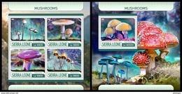 SIERRA LEONE 2017 - Mushrooms - YT 7029-32 + BF1216; CV=40 € - Champignons