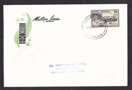 Tonga: Cover To USA, 1970, 1 Imperforated Stamp, Ship, Overprint, Tin Can Canoe Mail, Matson Lines (traces Of Use) - Tonga (1970-...)