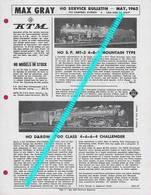 Catalogue MAX GRAY Supplement Sheet May 1962 KTM HO Models SP & D&RGW 3700 - Customer Service Bulletin - Books And Magazines