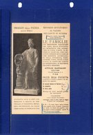 ##(DAN189)-ITALIA-cartoncino Pubblicitario Formato Cartolina Scultore Prof.Attilio Bartalini-Pisa - Pubblicitari