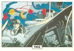 Illustrateur Moure - Enghien Les Bains - Aviation - Avions - Aviatrice - Amelia Earhart - Paquebot Normandie -Autographe - Otros Ilustradores