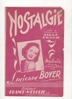 PARTITION ET PAROLES NOSTALGIE - LUCIENNE BOYER - PAROLES ET MUSIQUE ANDRE GRASSI - 1951 - Partituras