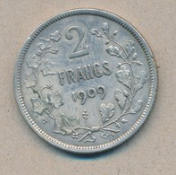 België/Belgique 2 Fr Leopold II 1909 Fr Morin 196 (119149) - 1865-1909: Leopold II