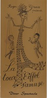PARIS : Menu Du Dîner-spectacle à La Tour Eiffel Animé Par Nicole Croisille, Illustré Par PEYNET. (TTB) - Menus