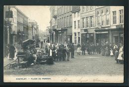 Chatelet. Le Marché Place Du Perron.  Belle Animation. 3 Scans. - Châtelet