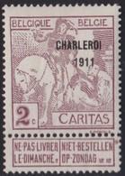 Belgie  .   OBP   .  102      .   *   .   Ongebruikt Met  Charnier .   /    .  Neuf  Avec  Charniere - 1910-1911 Caritas