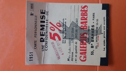 11 X 8.5 CM CARTE PERSONNELLE DE REMISE AU GALERIE BARBES VALIDITE  SEPT 1954 - Advertising
