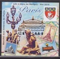 = Bloc Gommé Carré Marigny Les 4 Jours N°28 Mai 2016 Marché Aux Timbres Paris Opéra Garnier Blason Paris Non Dentelé - CNEP