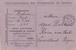 Carte De Franchise Officiers Prisonniers De Guerre Barcelonnette  Carte Violette - Marcophilie (Lettres)