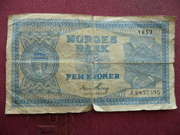 NORVEGE Billet De 5 Krone 1953 - Norvège