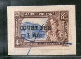 India Fiscal Jaipur State 1 An O/P On 4As Court Fee Type 18 KM 210 Revenue Stamp # 579D - Jaipur