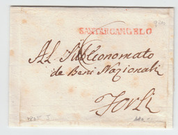 Italy Italia Papal States Stato Pontifico 1809 SANTARCANGELO In Red Emilia Romagna To Forli (q210) - Italia